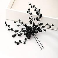 Шпилька для волос с черными камушками и бусинами, фото 1