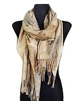 Кашемировый шарф  Листья 180*60 см бежевый