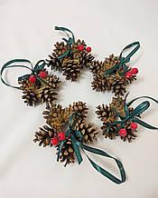 Новогодний декор, набор ёлочных украшений из натуральных шишек