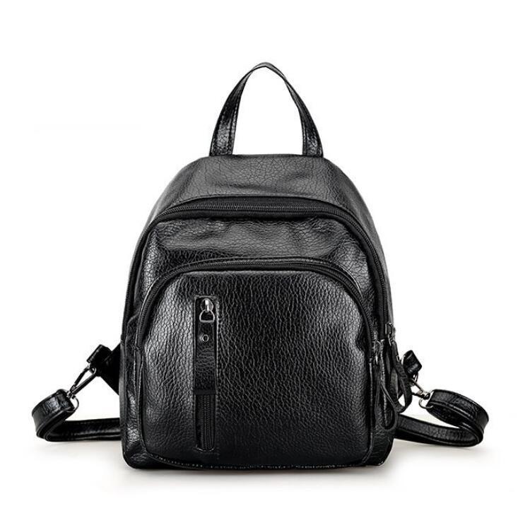 Женский рюкзак из эко-кожи, черный классический рюзак, женский городской рюкзак СС-3682-10