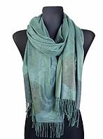 Кашемировый шарф  Листья 180*60 см изумрудный