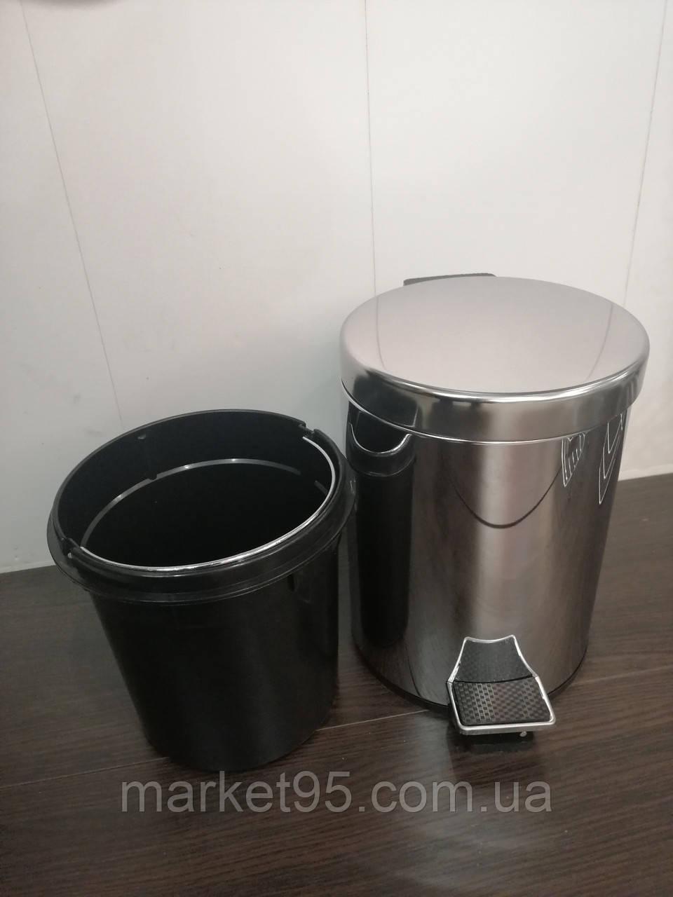 Відро для сміття з педаллю з нержавіючої сталі ZERIX LR70 5 л. глянцеве