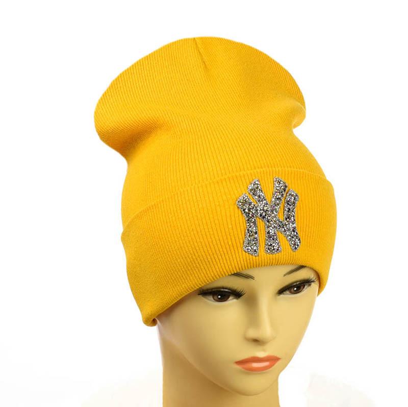 """Шапка с логотипом """"NewYork"""" Нью Йорк горчичный"""