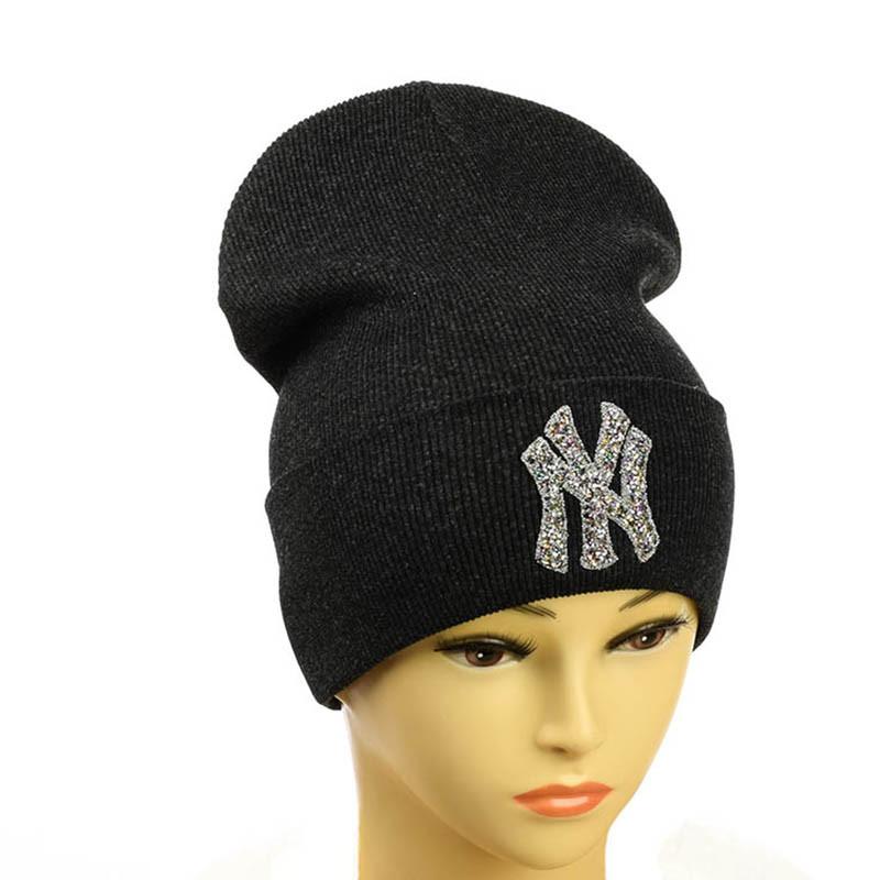 "Шапка с логотипом ""NewYork"" Нью Йорк темно- серый"