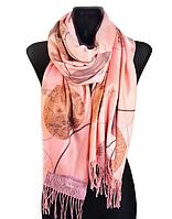 Кашемировый шарф  Листья 180*60 см персиковый
