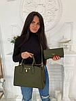 Женская сумка 2в1, экокожа PU (зелёный), фото 3