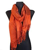 Кашемировый шарф  Листья 180*60 см терракота
