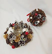 Новогодний декор, набор украшений, подсвечник из натуральных шишек и хлопка