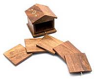 """Подстаканники """"Домик """" набор 6шт розовое дерево 10х10х9см (1772)"""