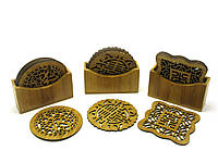 Подстаканники бамбуковые резные набор 6шт 11х10х3,5см (27938)