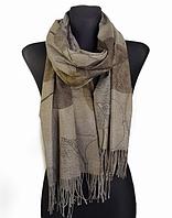 Кашемировый шарф  Листья 180*60 см капучино