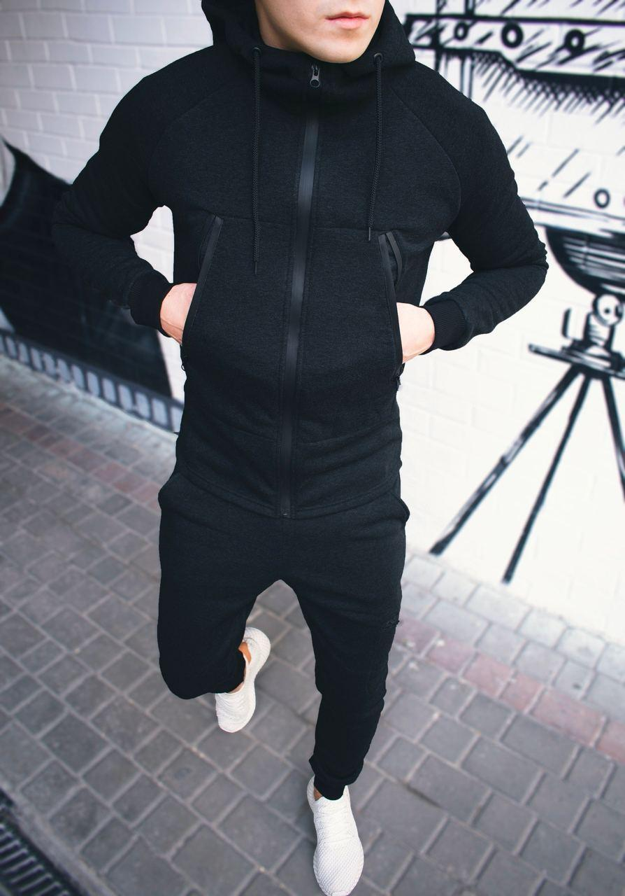 Чоловічий теплий спортивний костюм Некст Чорний