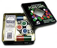 Покерный набор 2 колоды карт,100 фишек 19,5х20,5х5см (23725)