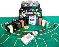 Покерный набор 2 колоды карт,200 фишек,сукно 25,5х20,5х10см (23716)