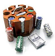 Покерный набор в деревянной подставке 200 фишек,2 колоды карт 25х22х18см (19853)