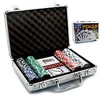 Покерный набор в кейсе 2 колоды карт+200 фишек 30х21х7см (23088)