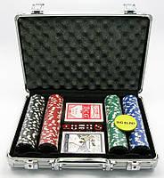 Покерный набор в кейсе 2 колоды карт+200 фишек 24х32х9см (19298)