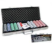Покерный набор в кейсе 2 колоды карт+500 фишек 57х21х7см (23093)