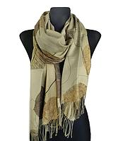 Кашемировый шарф  Листья 180*60 см оливковый