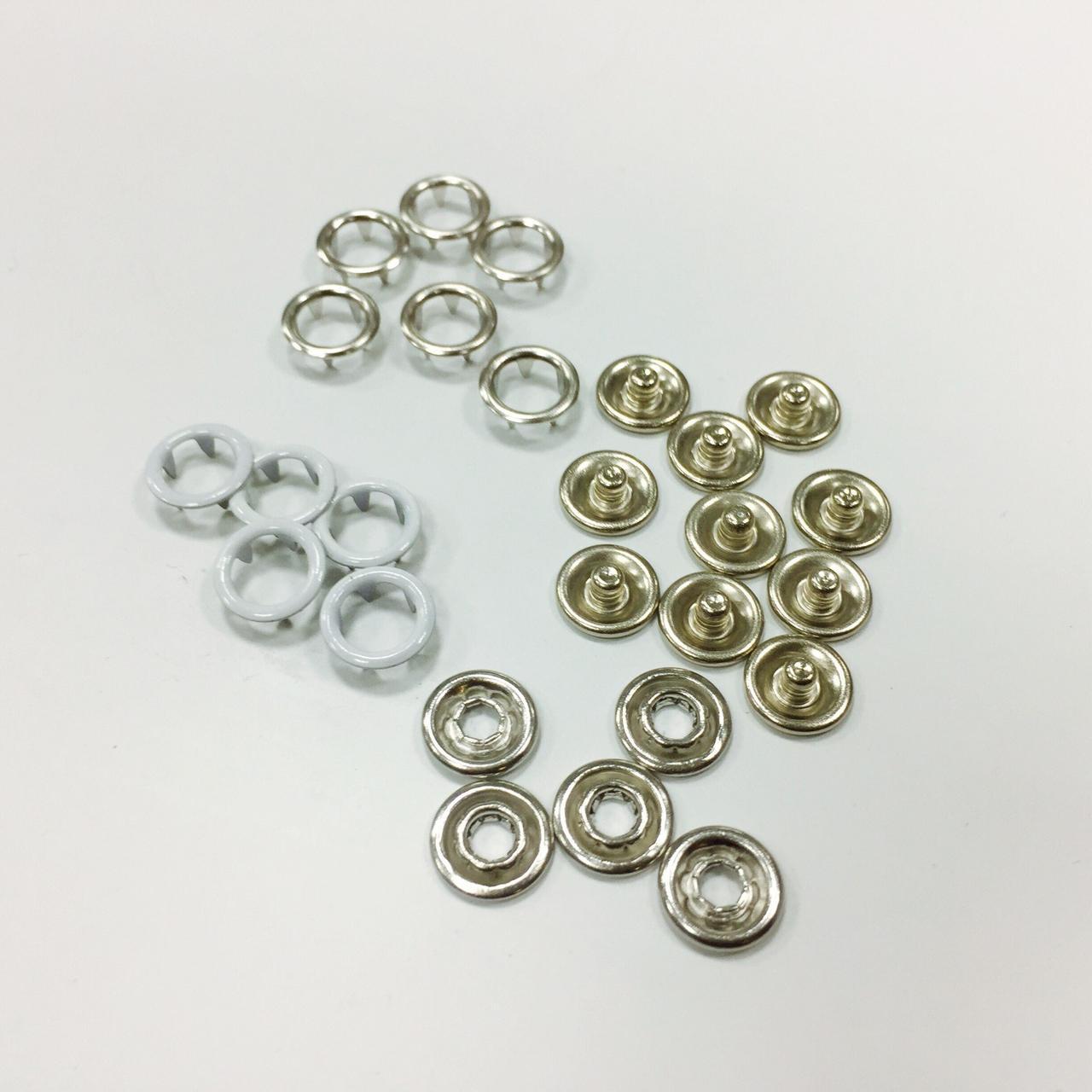 Кнопка рубашечная нерж 9,5мм кольцо цв белый (уп 144шт)