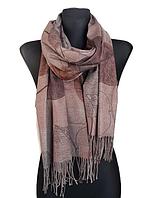 Кашемировый шарф  Листья 180*60 см мокко