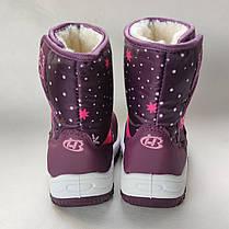 Детские зимние дутики на зиму для девочки сапоги бордовые 24р 15,5см, фото 2