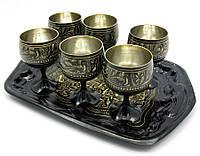 Рюмки бронзовые черные набор 6шт 80мл h-6,5см (19324)