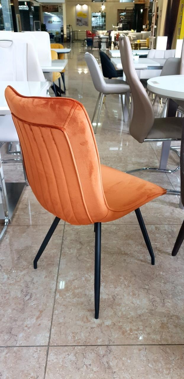 Стул N-76 медный (оранжевый) вельвет + черный металл от Vetro Mebel