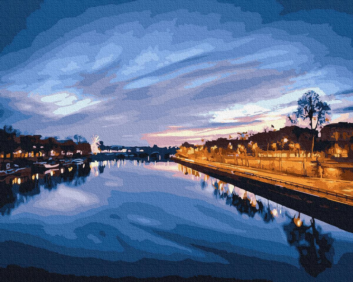 Картина рисование по номерам Brushme Вид на нічну ріку     BK-GX23841 набор для росписи, краски, кисти, холст