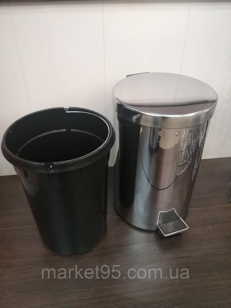 Відро для сміття з педаллю 12л,Eco Fabric  нержавіюча сталь
