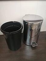 Ведро для мусора с педалью 12л, нержавеющая сталь, фото 1