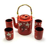 Сервиз керамический чайник 1100мл 4 пиалы 125мл (27914)