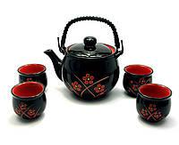 Сервиз керамический чайник 700мл 4 пиалы 50мл (28013)