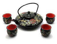 Сервиз керамический чайник 900мл h-7см, d-19см;4 чашки, h-5,5см, d-5,5см (28003)