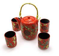 Сервиз керамический чайник 700мл h-13,5см, d-9см; 4 чашки 130мл h-7,3см, d-6см (27895)