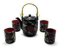 Сервиз керамический чайник 700мл h-13,5см, d-9см; 4 чашки 130мл h-7,3см, d-6см (28011)