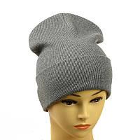 Трикотажная женская шапка серый