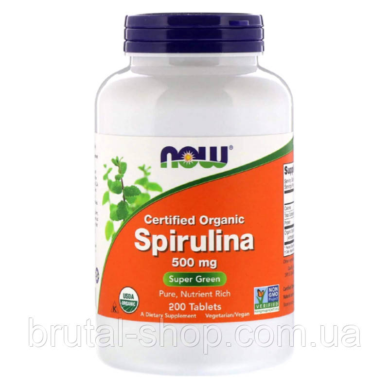 Now Foods Certified Organic Spirulina 500mg (200tablets)