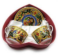"""Сервиз фарфор 2 чашки+2 блюдца """"Драконы"""" 160мл h-6см, Ø 8см, Ø блюдца 14см (18672)"""