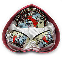 """Сервиз фарфор 2 чашки+2 блюдца """"Сакура"""" 160мл h-6см, Ø 8см, Ø блюдца 14см (18673)"""