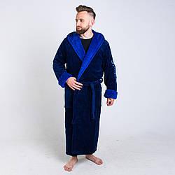 Мужской махровый халат синего цвета на запах  размер L- 6XL