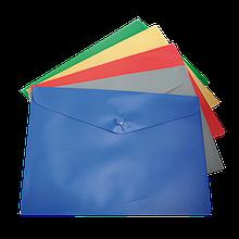 Папка-конверт А5 на кнопці, асорті, глянцева непрозора