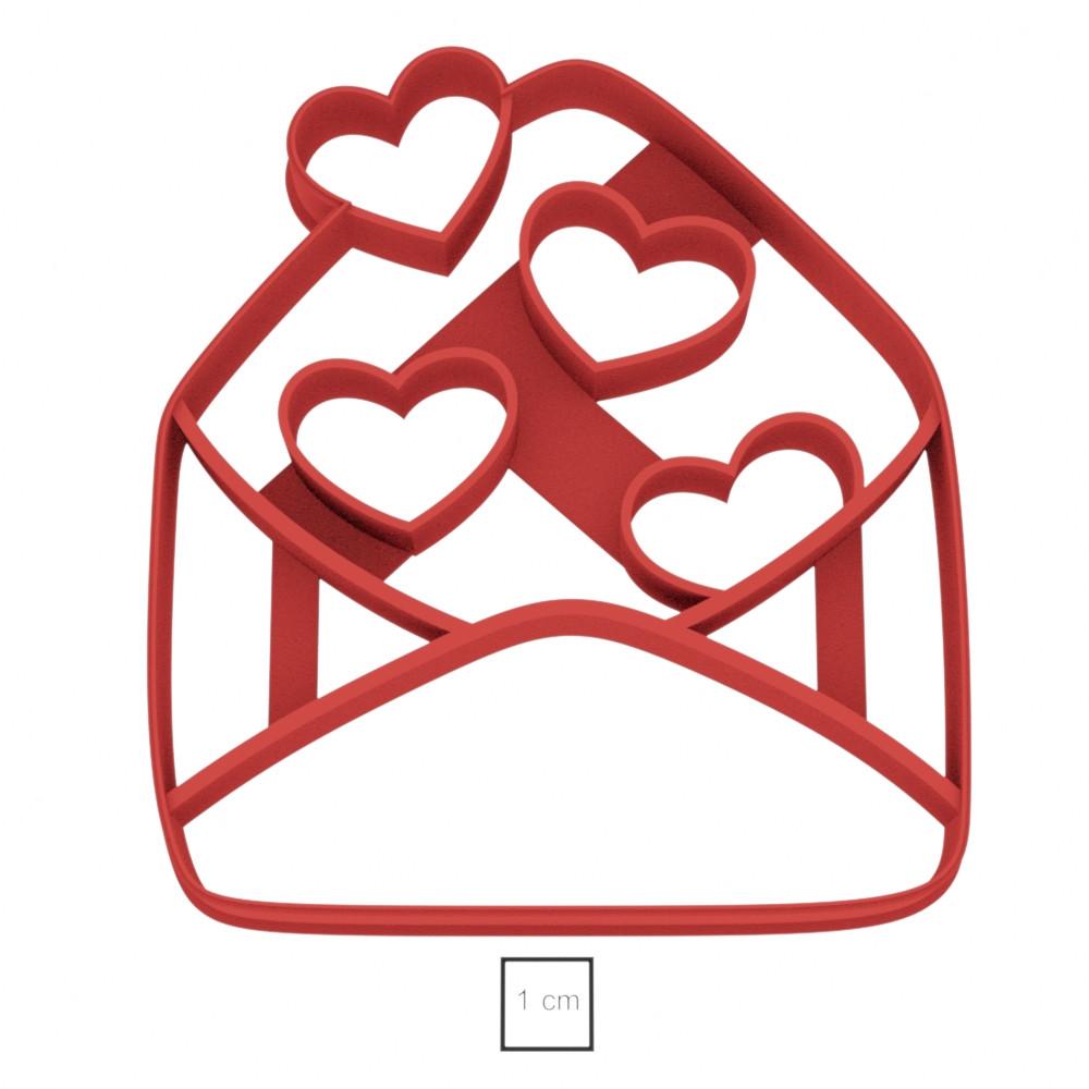 Висічка для пряника у вигляді конверту із сердечками