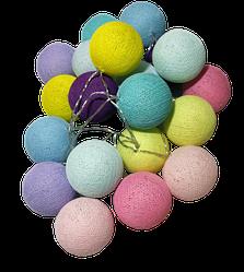 Гирлянда нитяная из 10 цветных шаров