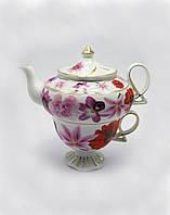 """Сервиз фарфор 1 чайник+1 чашка """"Цветы"""" 200/400мл чашка/чайник (19249)"""