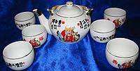 """Сервиз фарфор 1 чайник+6 чашек """"Шоусин"""" 200/800мл, чашка/чайник (22539)"""