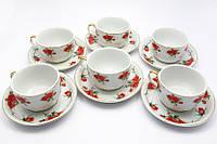 "Сервиз фарфор 6 чашек+6 блюдец ""Розы"" 150мл h-5,5см, Ø 8,5см, блюдце Ø 13,5см (19257)"