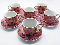 "Сервиз фарфор 170мл 6 чашек+6 блюдец ""Бабочки "" h-7см, Ø 7,5см (19207)"