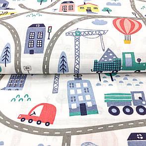 """Польская хлопковая ткань """"Синие, желтые, красные машинки в городе на белом"""", фото 2"""