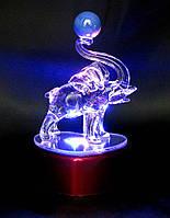 Слон хрустальный с подсветкой 11х6,5х6см (18817)